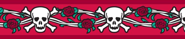 Ob. polos. RD 15 mm x 26-40 cm - Skull & Roses Red
