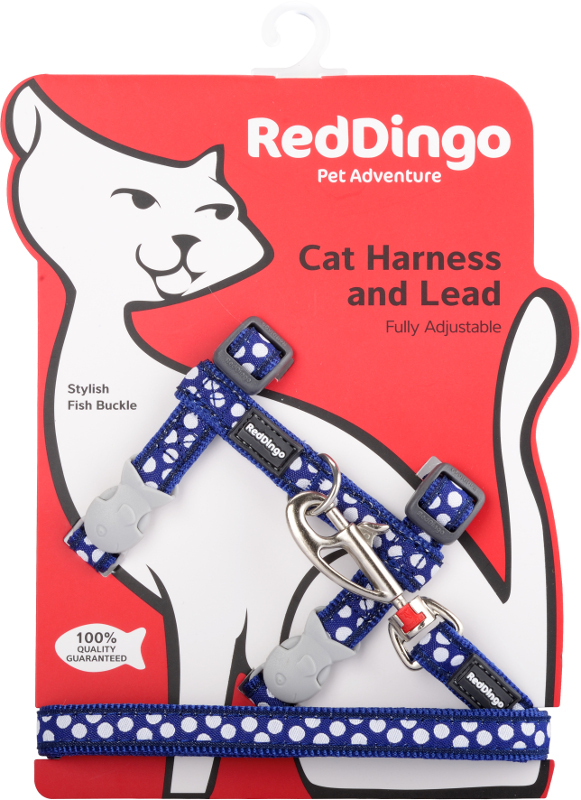 Postroj RD s vodítkem-kočka- White Spots on Navy