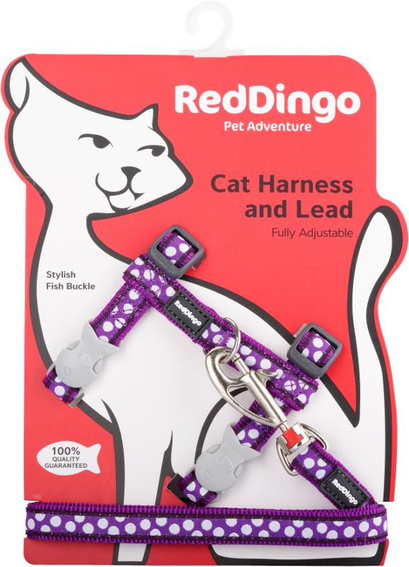 Postroj RD s vodítkem-kočka- White Spots on Purple