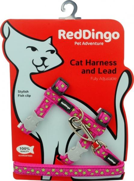 Postroj RD s vodítkem - kočka- Stars Lime/Hot Pink