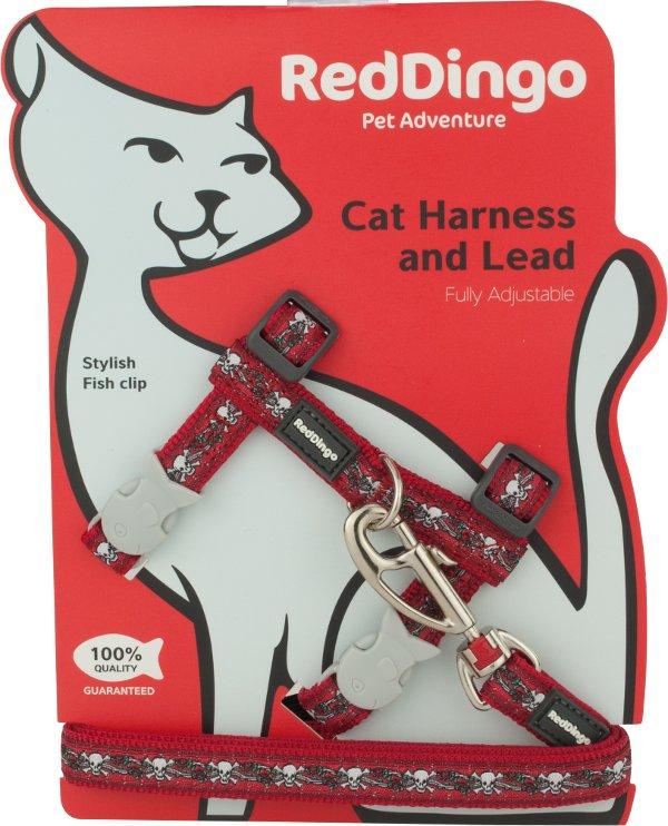 Postroj RD s vodítkem - kočka- Skull & Roses Red
