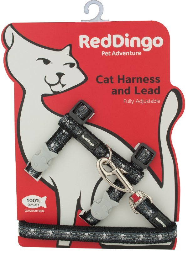 Postroj RD s vodítkem - kočka- Skull & Wire Black