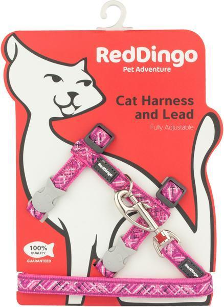 Postroj RD s vodítkem - kočka- Flanno Hot Pink