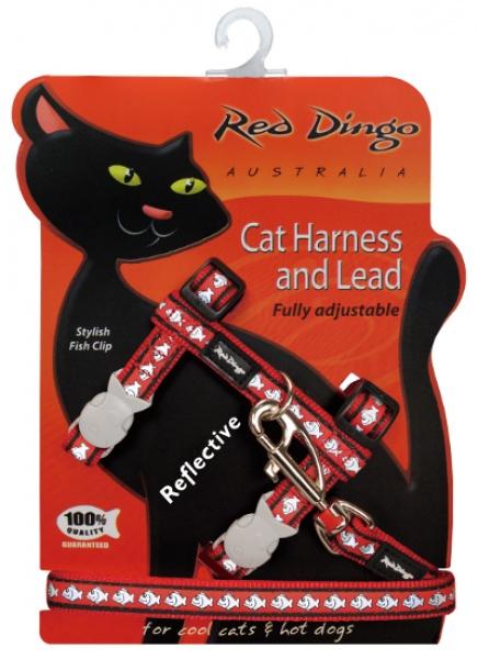 Postroj RD s vodítkem - kočka - Fish Rfx - Červená