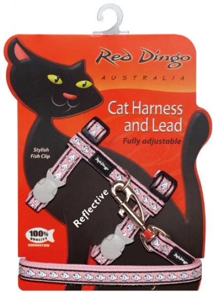Postroj RD s vodítkem - kočka - Fish Rfx-  Růžová