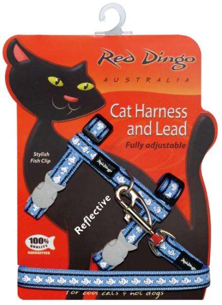 Postroj RD s vodítkem - kočka- Fish Rfx- Stř.Modrá