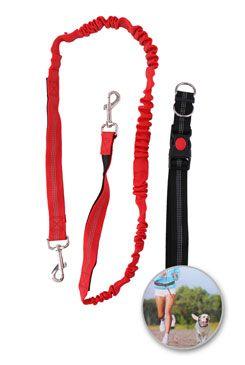 Vodítko elastické s obojkem pro běhání se psem