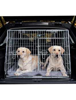 Klec do auta pro 2 psy kovová 93x68x79cm skosená TR