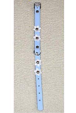 Obojek kožený Modrý+květy 35cmx14mm 1ks