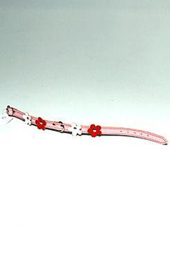 Obojek kožený Růžový+květy 30cmx12mm 1ks