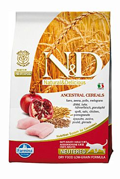 N&D LG CAT Neutered Chicken & Pomegranate 300g