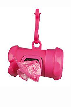 Pouzdro plast +sáčky na psí exkrementy KOST růžová TR
