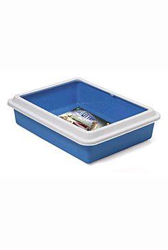WC kočka Katja otevřené s okrajem 43,5x 34 x11cm modrá