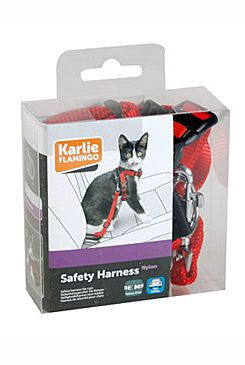 Postroj kočka Bezpečnostní do auta 25mm červený KAR