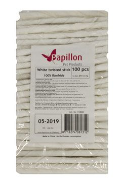 Papillon suš.poch. 100 white sticks twist 12,5cm pes