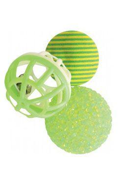 Hračka kočka sada míčků 3ks 4cm zelená Zolux