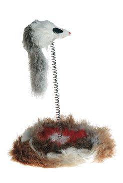Hračka kočka Myš na pružině 14cm KAR