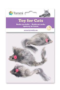 Hračka kočka Myš chlupatá 6cm /3ks