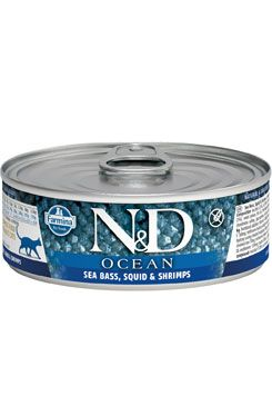 N&D CAT OCEAN Adult Sea Bass & Squid & Shrimps 80g
