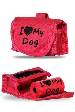 Taška na obojek+sáčky na psí exkrementy 15ks, růžová