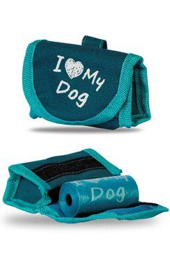 Taška na obojek+sáčky na psí exkrementy 15ks, tyrkysov